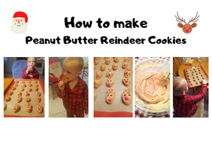 this is a collage on how to make peanut butter reindeer cookies