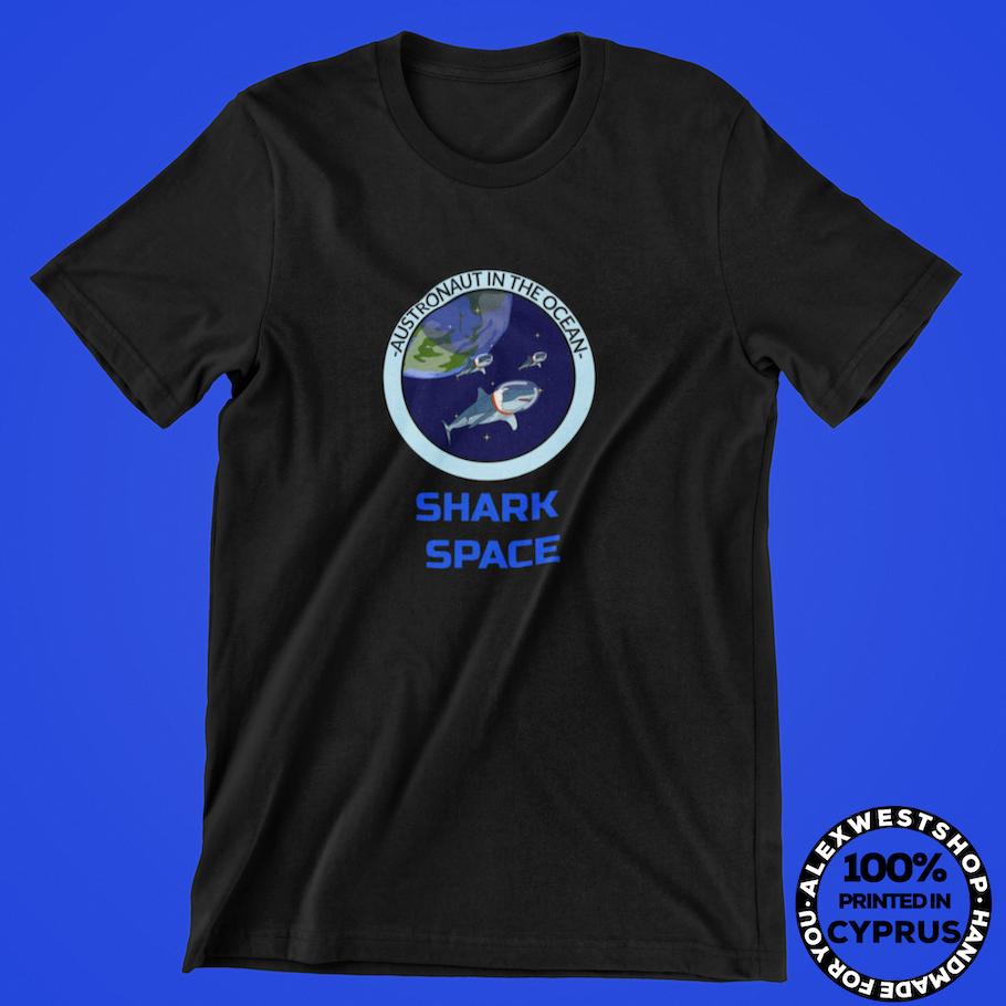 austronaut in the ocean funny shark t shirt redbubble spreadshirt teepublic cafepress society6
