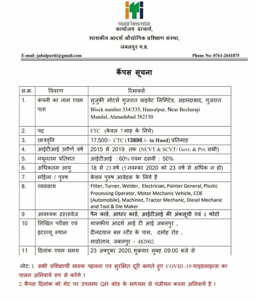 शासकीय आदर्श आईटीआई संस्था जबलपुर मध्य प्रदेश में सुजुकी मोटर्स द्वाराआईटीआई जॉब  कैंपस प्लेसमेंट का आयोजन