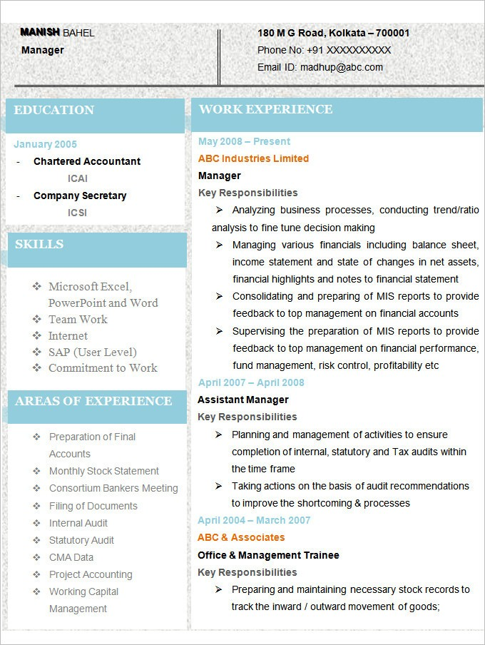 Accountant Resume Format 2019 2020 Resume Format Site