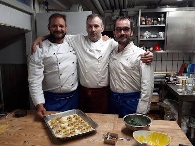 Chef Claudio of Baita S. Lucia da Fritz with Bjorn Troch The Social Traveler and Steven Herteleer
