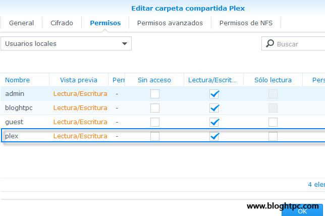 Carpeta compartida en PLEX DiskStation Manager