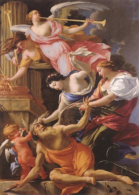 Simon Vouet - Saturno vencido por el Amor, Venus y la Esperanza - 1645-46
