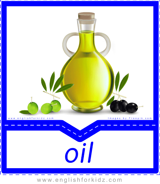 Olive oil - English food flashcards for ESL students
