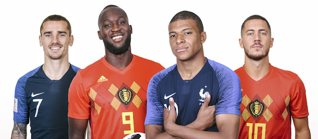 Griezmann, Lukaku, Mbappe, Hazard pose for promo photo for France vs Belgium World cup 2018 semi final match
