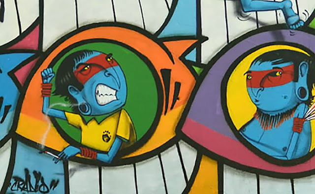 Street Art Collaboration Between PEZ and Cranio on the streets of Barcelona, Spain. 3