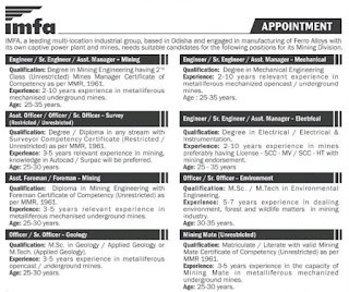 Indian Metals & Ferro Alloys Ltd Recruitment 2021 For Officer / Engineer/ Foreman/ Mining Mate in Odisha