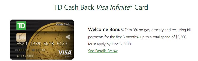 Rewards Canada: TD Cash Back Visa Infinite Card: Earn 9% on