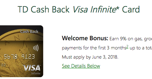 Td Visa Rewards >> Rewards Canada: TD Cash Back Visa Infinite Card: Earn 9% ...