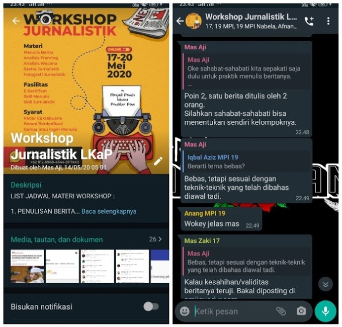 Digelar Secara Daring, Workshop Jurnalistik LKaP Berjalan Khidmat
