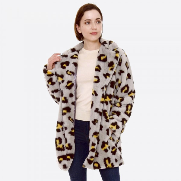 black, neon yellow, and grey leopard animal print faux fur coat