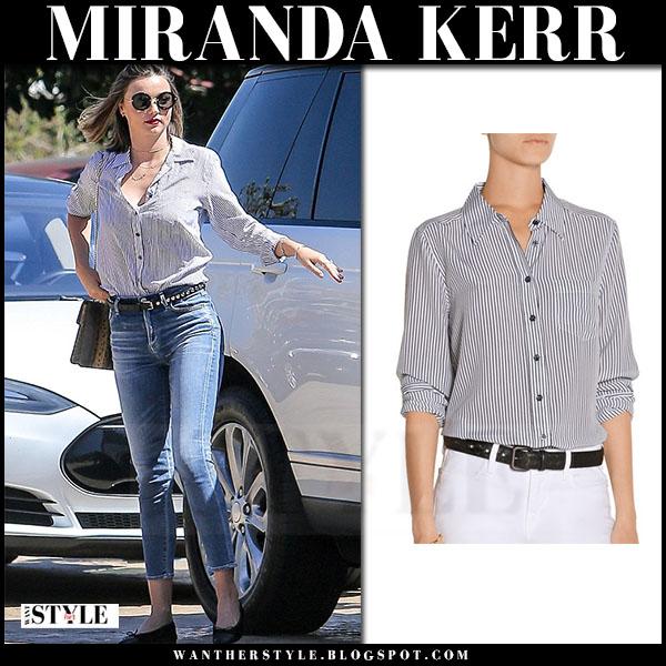 Miranda Kerr in striped equipment brett shirt and skinny jeans what she wore