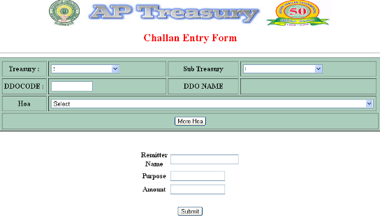 AP Treasury online challan form