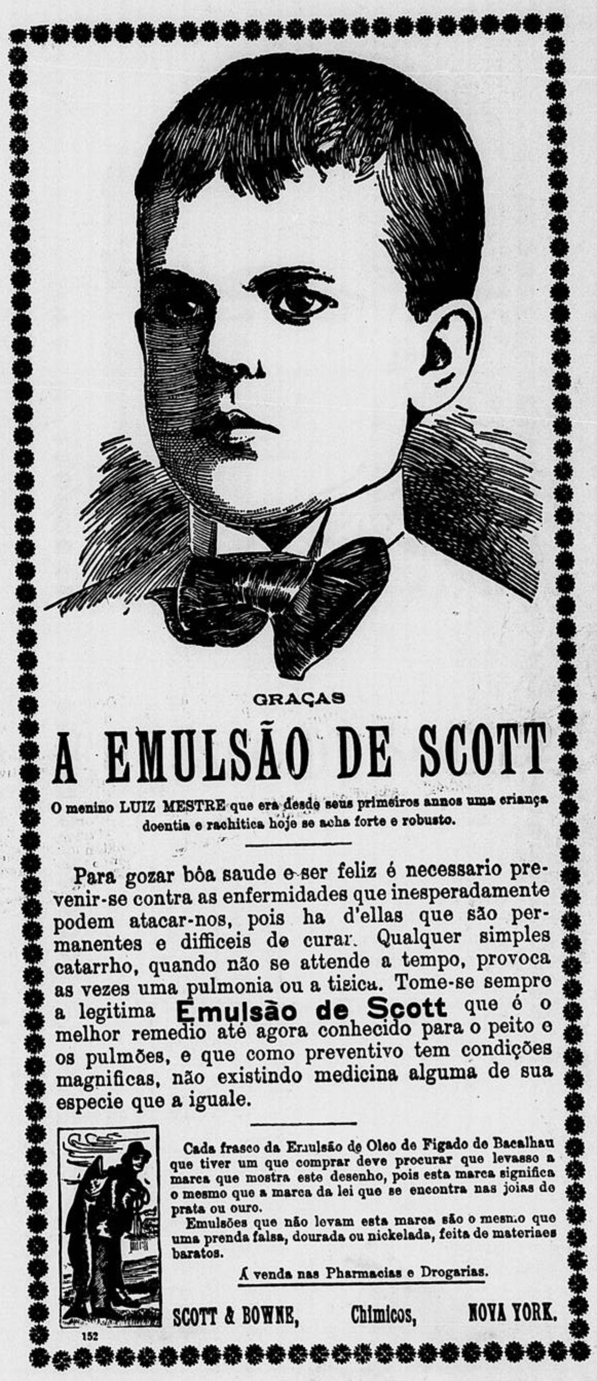 Anúncio antigo do Emulsão de Scott para promover a saúde em crianças no ano de 1904