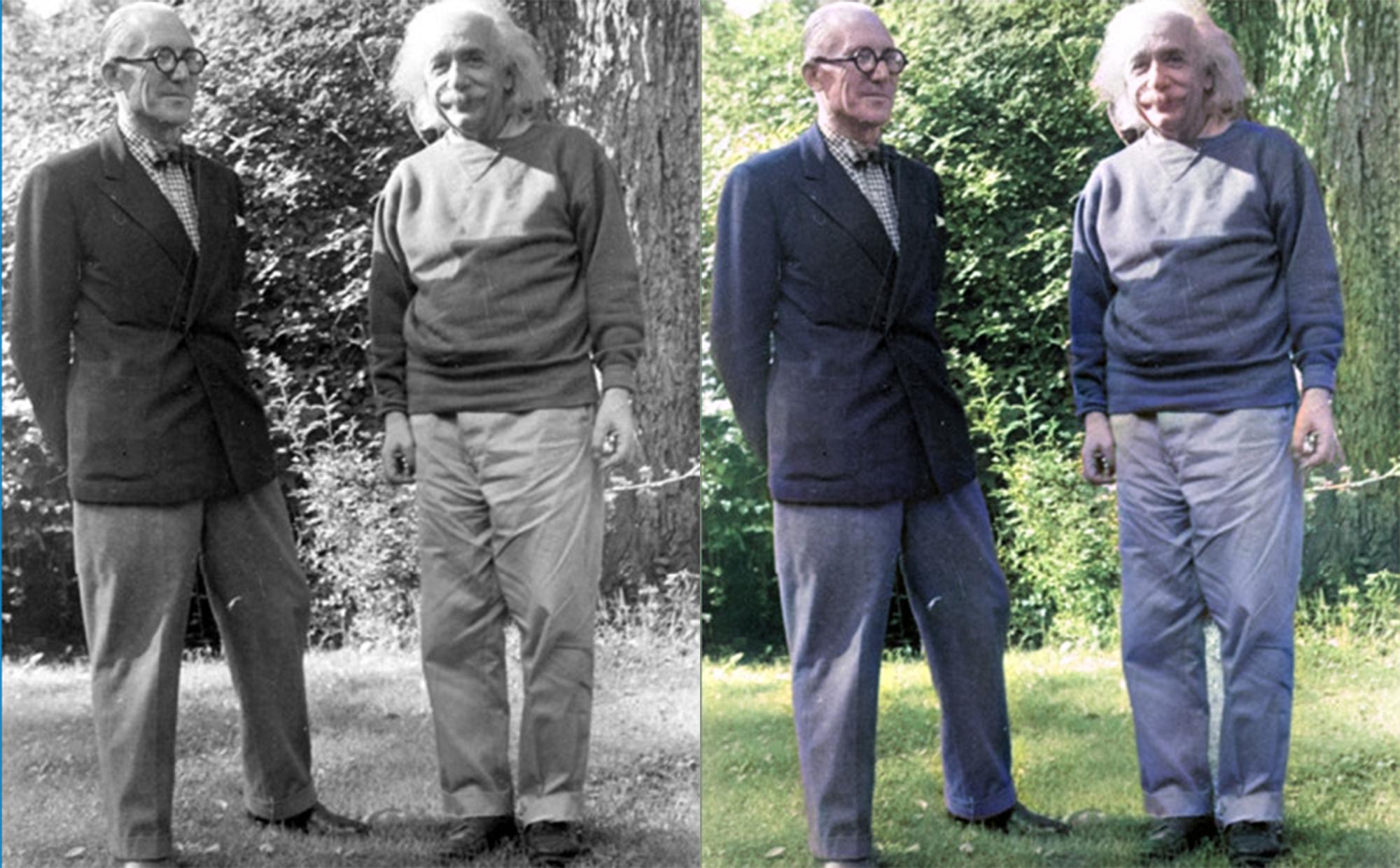 bức ảnh đen trắng quý hiếm giữa nhà bác học Albert Einsteinvà kiến trúc sư Le Corbusier