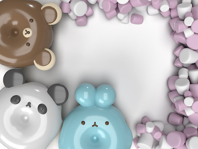 3D Animal donuts and marshmallows background