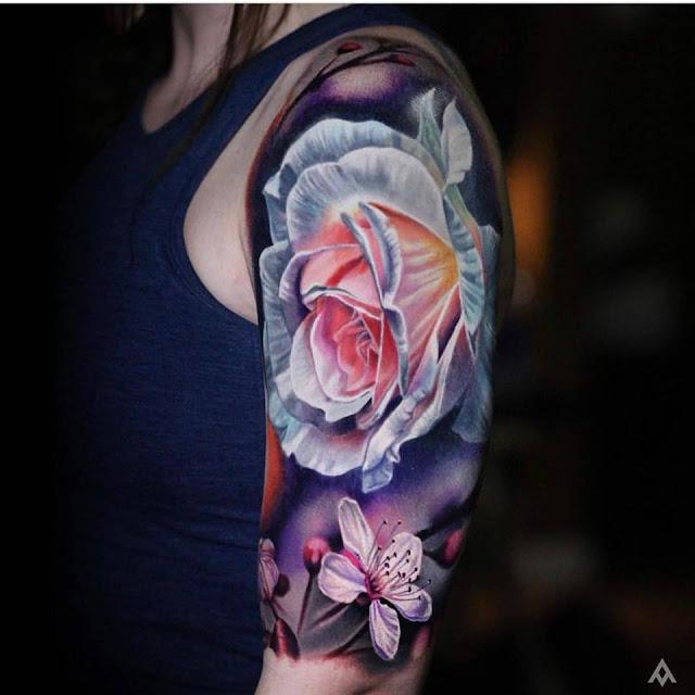 Colorful Flower Sleeve Tattoos