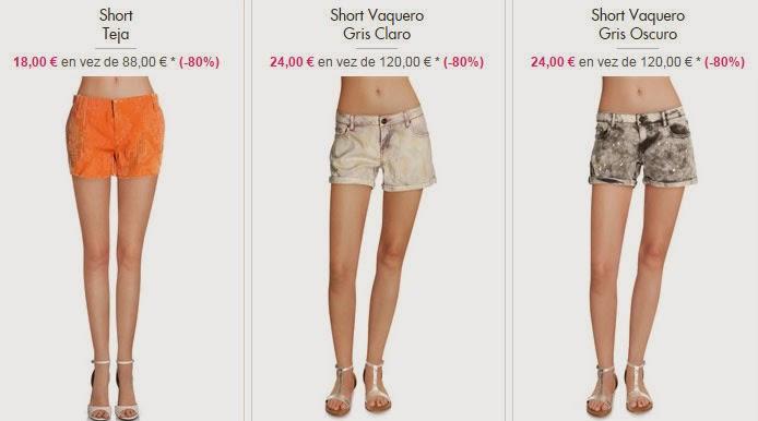 Shorts de color teja y gris