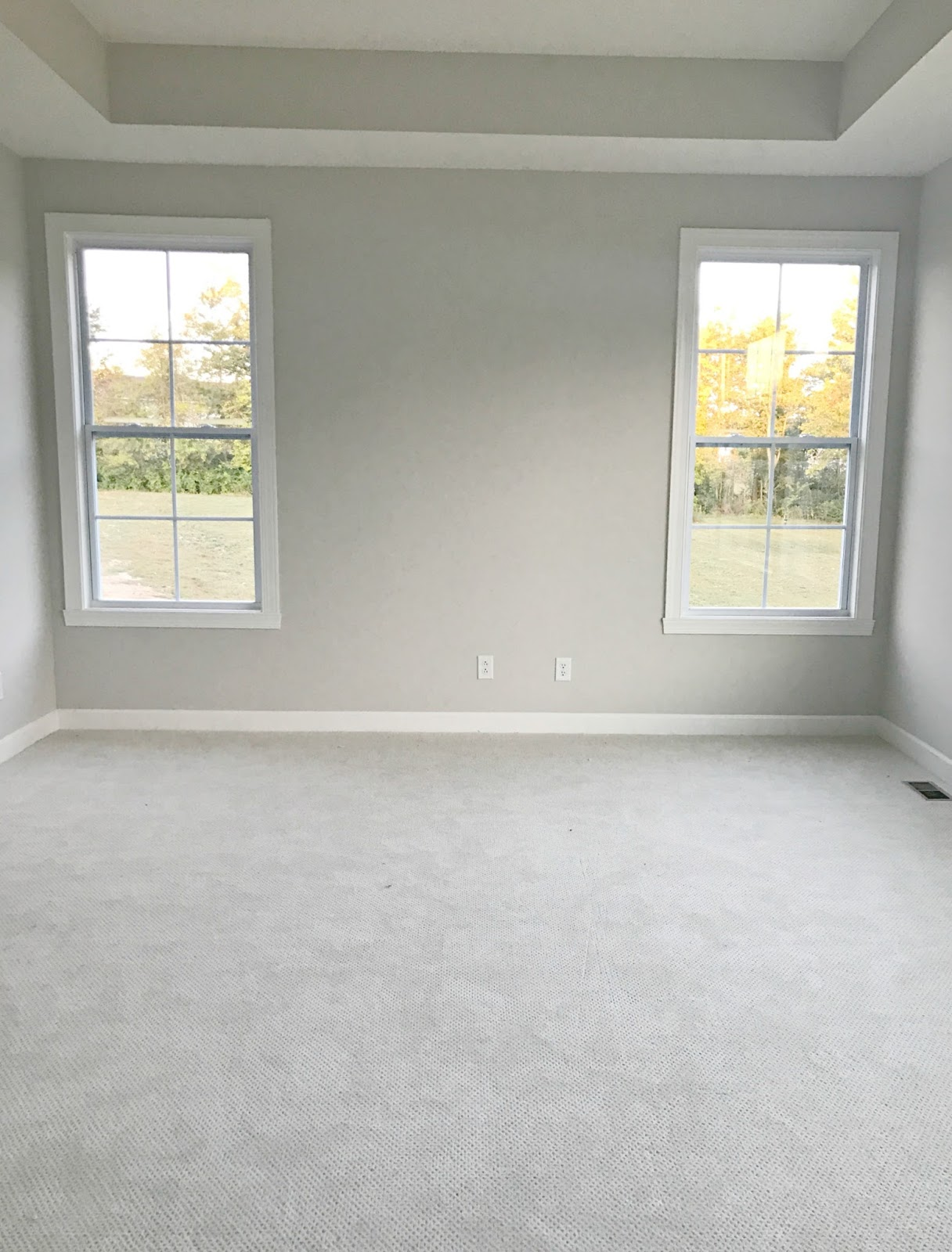 Long master bedroom with bed between windows