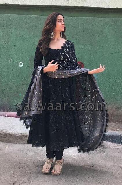 Alia Bhatt Black Salwar Kameez