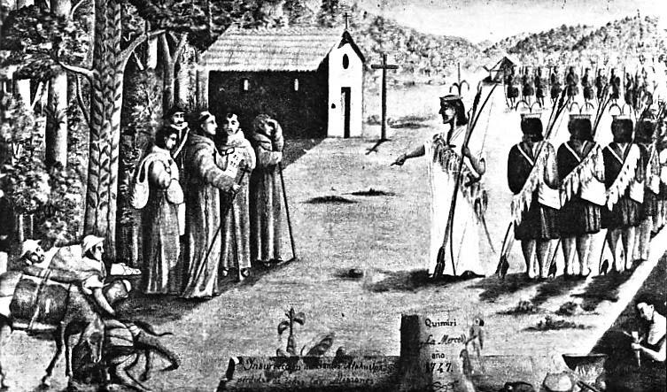 (2) Pintura de Gabriel Sala, que representa a Juan Santos Atahualpa en Quimiri (1747)