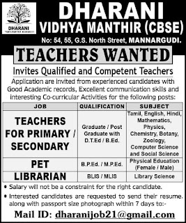 Teachers Wanted | CBSE School | Teachers for Primary/Secondary | PET | Librarian