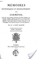 «Mémoires historiques et géographiques sur l'Arménie»