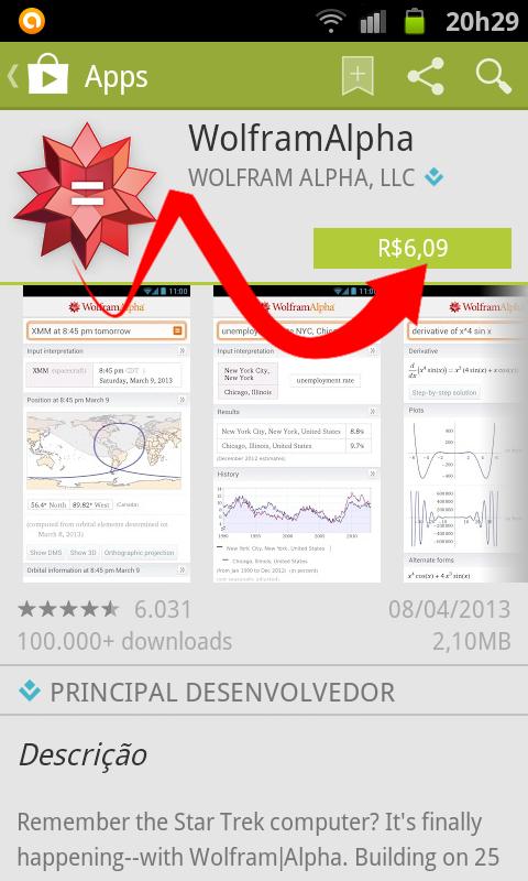Tela inicial para comprar o app wolfram alpha