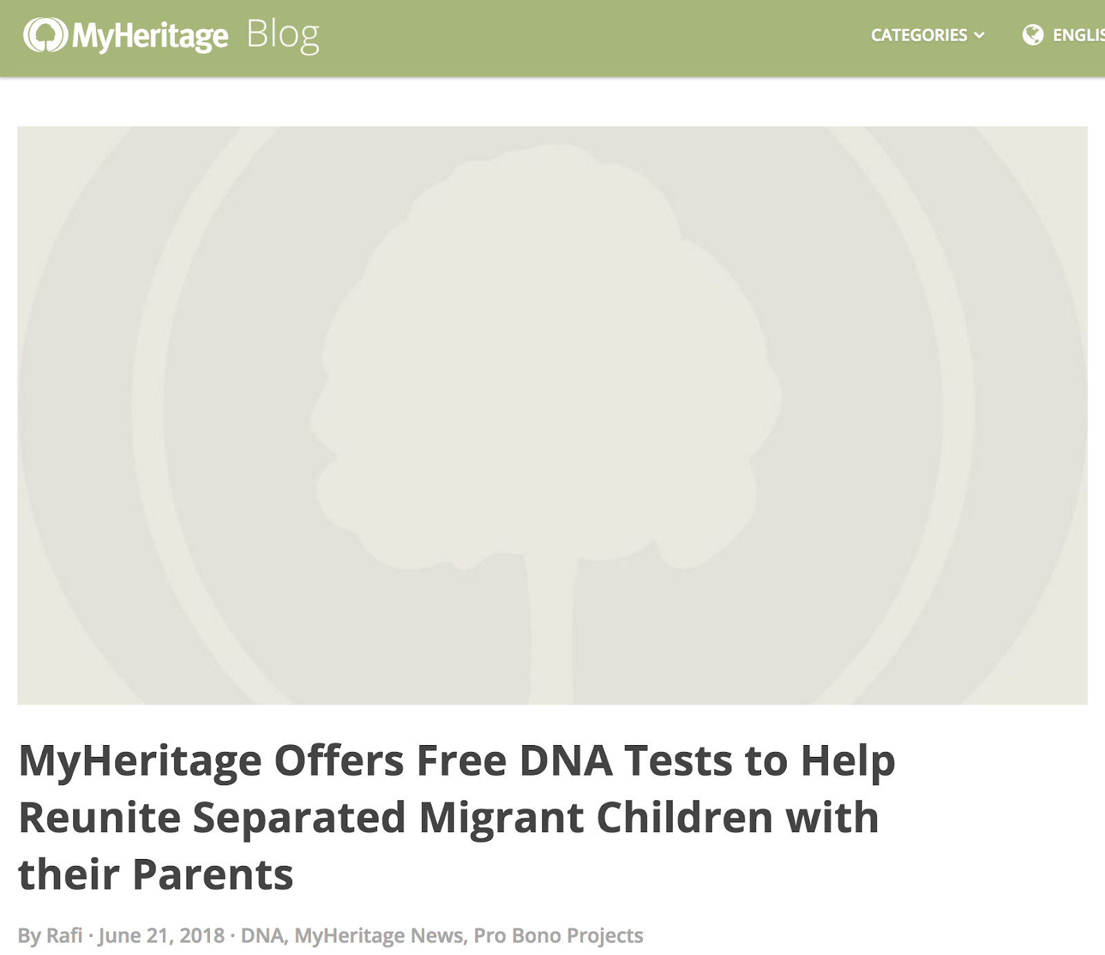 myheritage offers free dna tests to help reunite separated migrant children with their parents