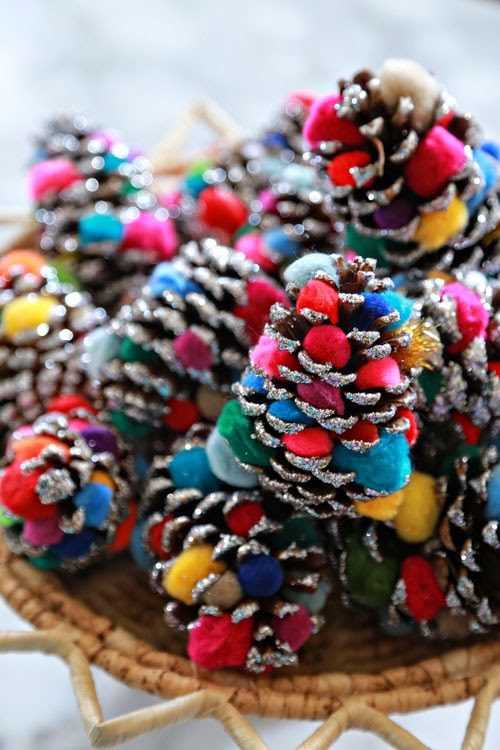 pine cone crafts ilovetocreate glittered pompom pinecone ornaments 2682