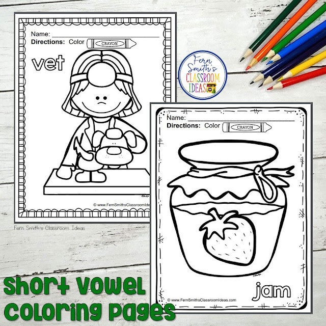 Your Students will ADORE this 50 Page Coloring Book for Short Vowels! Add it to your plans to compliment any Short Vowel Unit! 50 Coloring Pages #FernSmithsClassroomIdeas