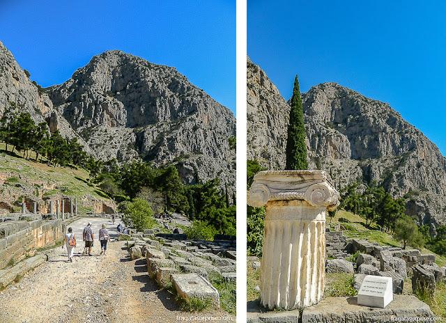 Monte Parnaso visto do Sítio Arqueológico de Delfos, Grécia