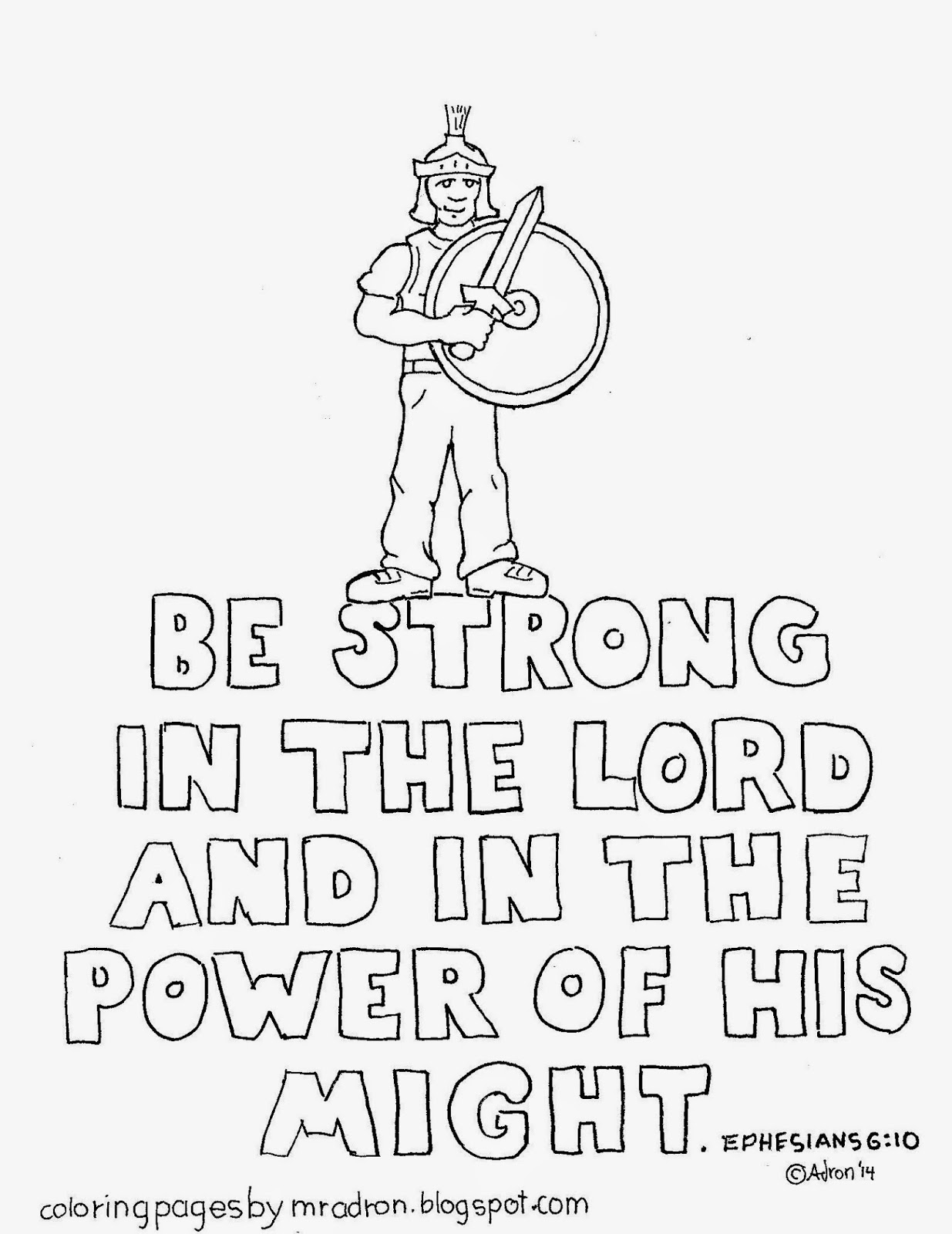 An illustration of Ephesians 6:10 to print and color.