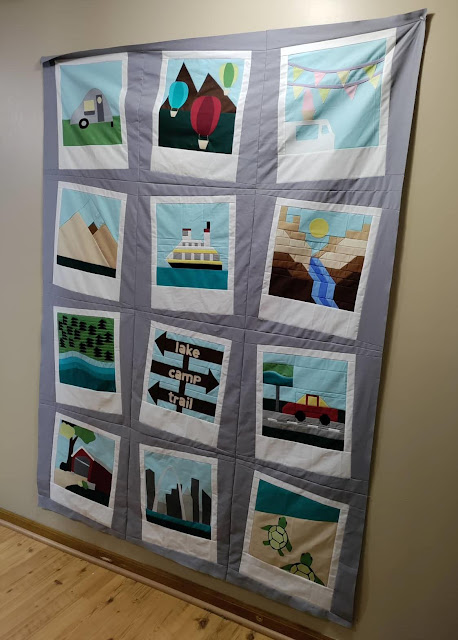 Quilt top using blocks as jumbo polaroid photos