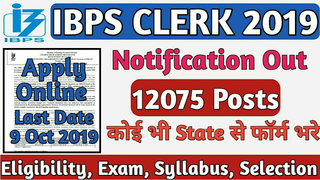 IBPS Clerk Notification 2019: Apply Online for 12075 Clerical Jobs - Reo Gallery