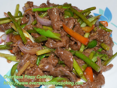 Beef with Garlic Stem Stirfry