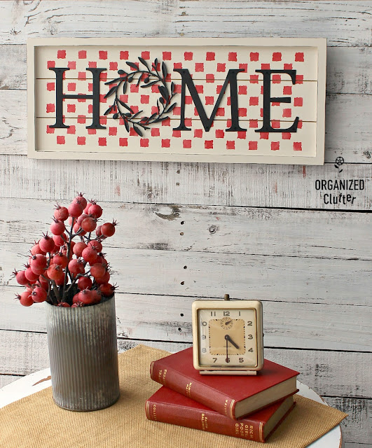 Thrifted HOME Sign Makeover #thriftshopmakeover #fusionmineralpaint #dixiebellepaint #stencil #checks #farmhouse #sign