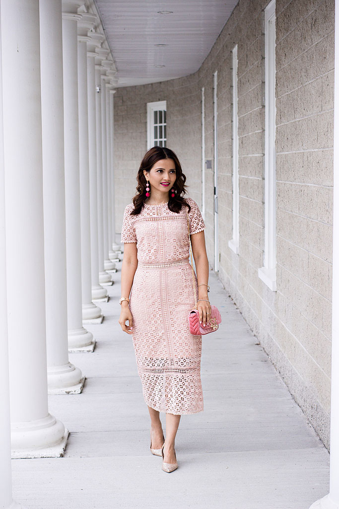 Blush Pink Lace Midi Dress Blogger Outfit Pink Velvet Bag Ball Earrings