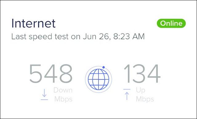 اختبار سرعة الإنترنت يوضح سرعة تنزيل 548 ميغابت في الثانية وسرعة تحميل 134 ميغابت في الثانية.
