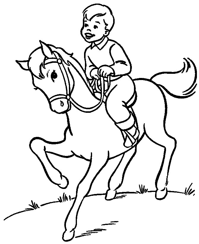 Sports Coloring Pictures For Kids: Horse Riding Coloring Pages