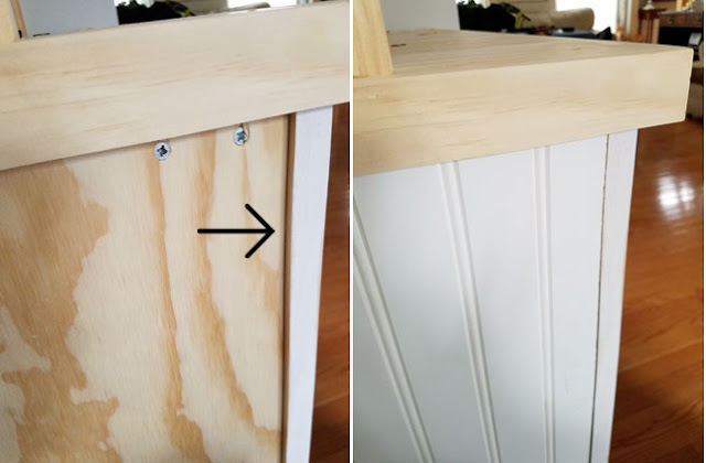 how to add beadboard to side of shelves.