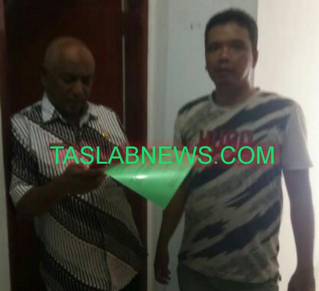 Kepala Bapenda Asahan Mahendra (kiri) dan kabiro Taslabnews Muhammad Yunus (kanan)