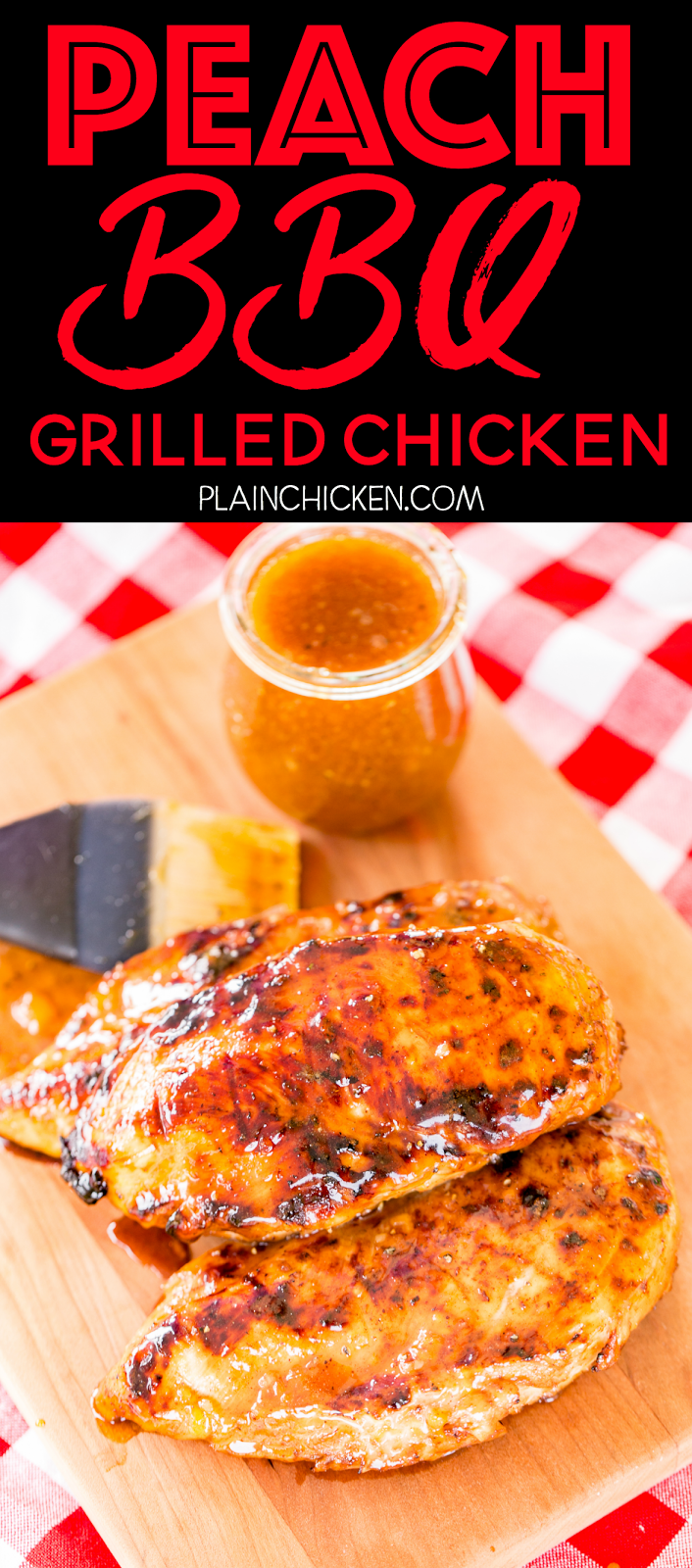Peach BBQ Grilled Chicken - AMAZING!!! SO easy and SOOOO delicious!!! Season chicken with some store-bought BBQ seasoning and grill. Brush with an easy homemade peach BBQ sauce to finish. This is incredible!! Peach preserves, soy sauce, dry mustard, garlic, cayenne pepper, salt, and pepper. Can make the sauce ahead of time and refrigerate until ready to serve. We make this at least once a month. Everyone LOVES this easy chicken recipe.
