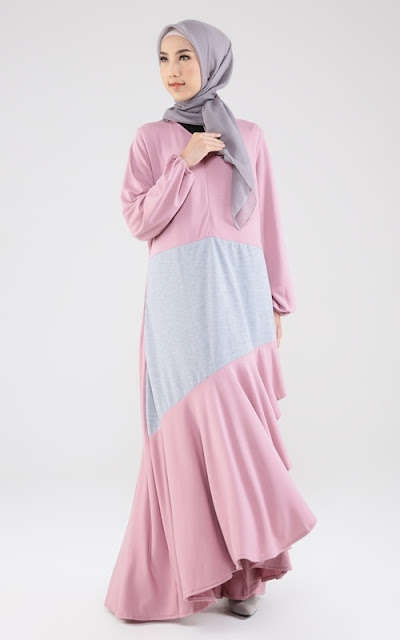 Long two tone dress with strap