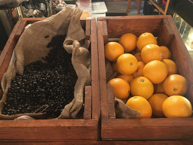 Coffee beans and oranges