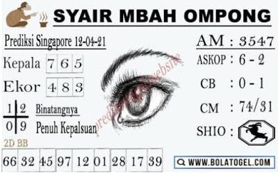 Syair SGP mbah ompong 12 April 2021