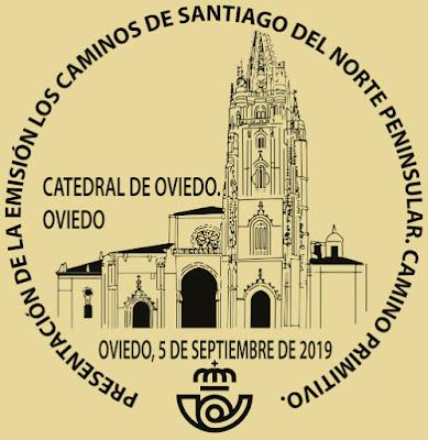 Matasellos de presentación de los sellos del Camino Primitivo de Santiago en Oviedo