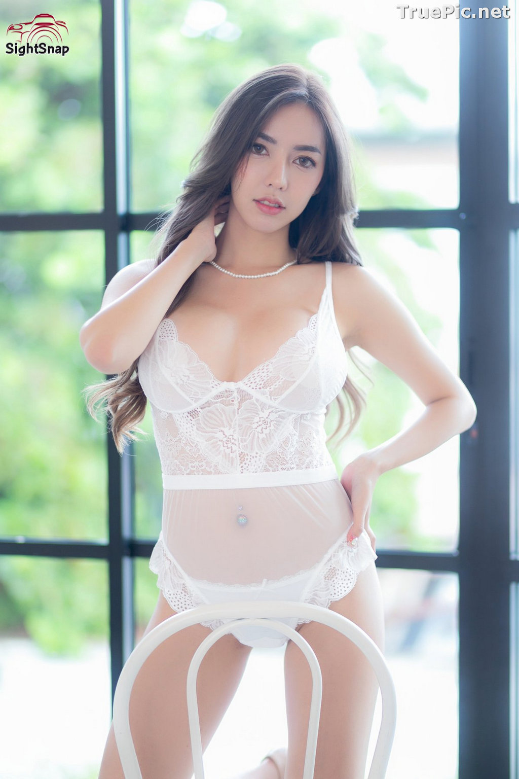 Image Thailand Sexy Model – Champ Phawida - Transparent White Lingerie - TruePic.net - Picture-5