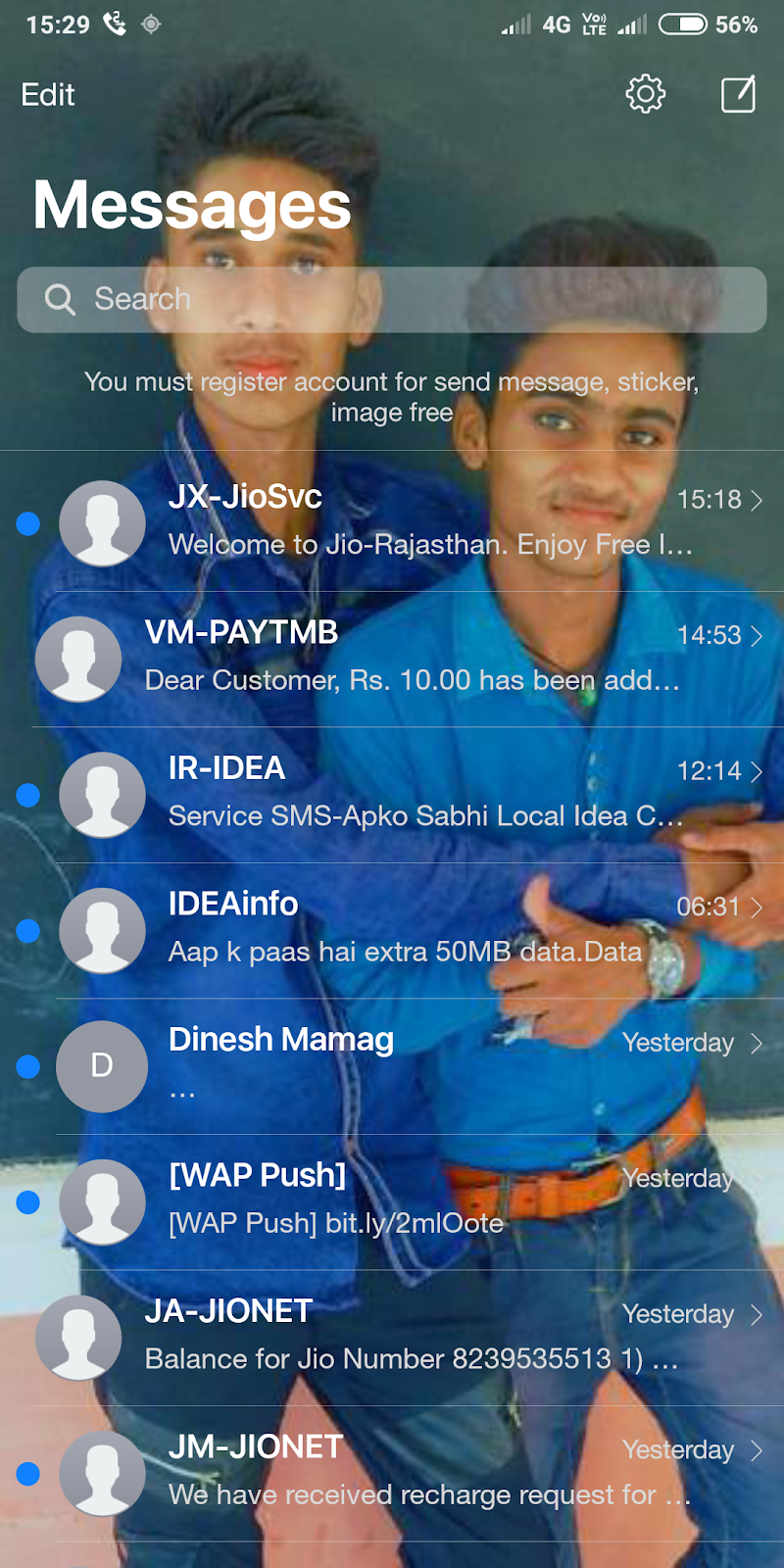 How to set your photo in message app background  - Rk