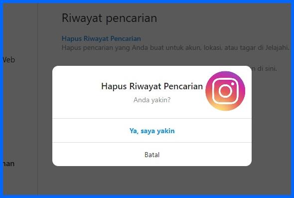 Cara hapus riwayat pencarian instagram